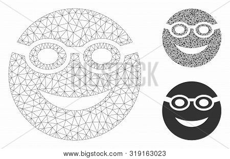 Mesh Swimmer Smiley Model With Triangle Mosaic Icon. Wire Frame Triangular Mesh Of Swimmer Smiley. V