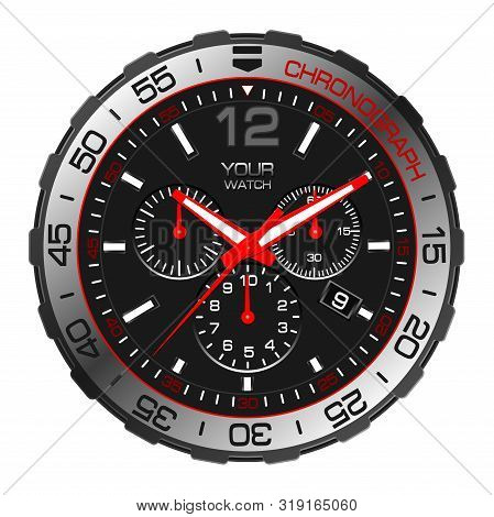 Realistic Black Red Silver Clock Watch Chronograph Sport Luxury On White Background Vector Illustrat