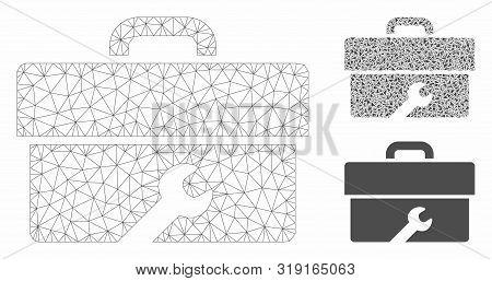 Mesh Toolbox Model With Triangle Mosaic Icon. Wire Frame Triangular Network Of Toolbox. Vector Mosai