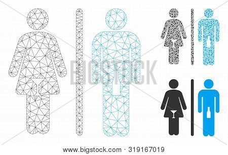 Mesh Wc Persons Model With Triangle Mosaic Icon. Wire Carcass Triangular Mesh Of Wc Persons. Vector