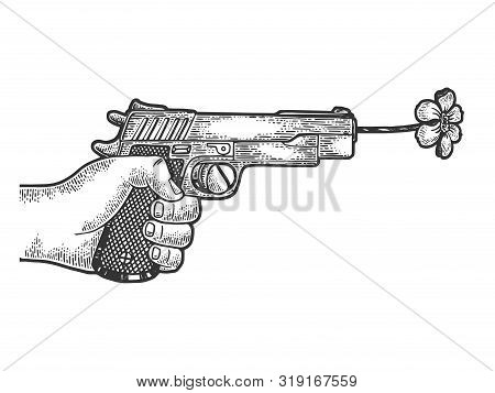 Gun Shoots A Flower Sketch Engraving Vector Illustration. Scratch Board Style Imitation. Black And W