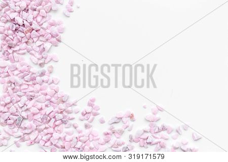 Decoration With Stones Frame On White Background Top View Copyspace