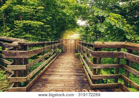 Beautiful Landscape Day View At Canadian Ontario Kettles Lake In Midland With Wooden Path Way To For