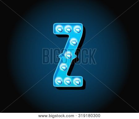 Casino Or Broadway Signs Style Neon Light Bulb Alphabet Letter Character In Raster