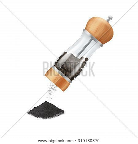 Realistic 3d Detailed Glass Pepper Mill With Peppercorns Isolated On A White Background. Vector Illu