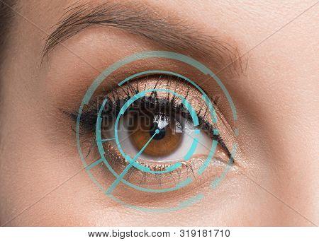 Human Eye Close Up. Retina Identification Concept. Digital Id Concept