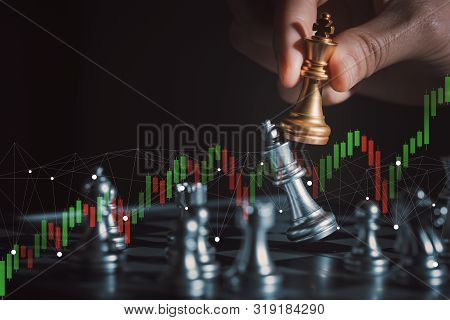Strategy Ideas Concept Business.chess (king Wins The Game) On Black Background. Success,business Str