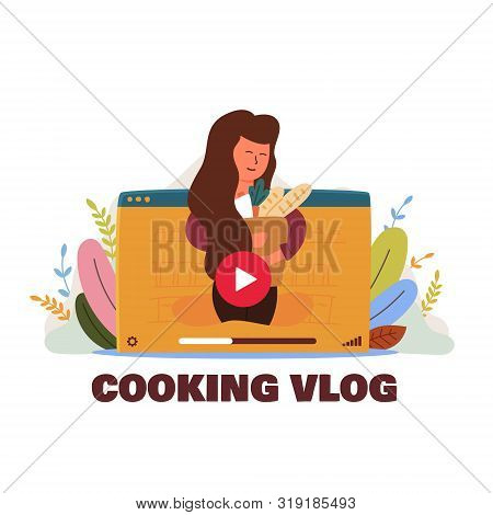 Informational Poster Inscription Cooking Vlog Flat. Joyful Happy Woman With Groceries. Bag Fresh Pas