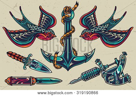 Vintage Colorful Flash Tattoos Collection With Swallows Sharp Knives Tattoo Machine Ship Anchor Isol