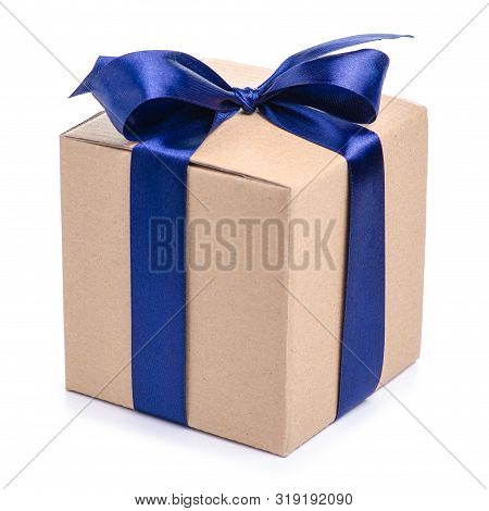 Brown Box With Blue Ribbon Bow Gift On White Background Isolation
