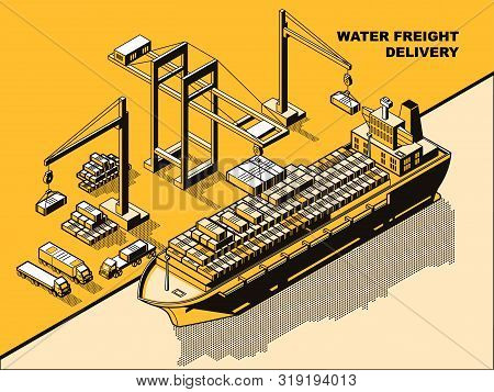 Water Freight Delivery, Yellow Isometric Line Art Vector Concept. Sea Port, River Dock With Cranes U