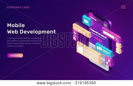 Mobile Web Development Isometric Concept Vector Illustration. Landing Page Template For Creating Cus