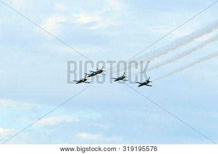 Kazan / Russia - August 18, 2019. Flight Aviation Group Aerobatics