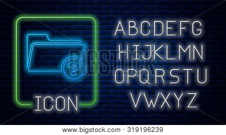 Glowing neon Unknown directory icon isolated on brick wall background. Magnifying glass and folder. Neon light alphabet. Vector Illustration poster