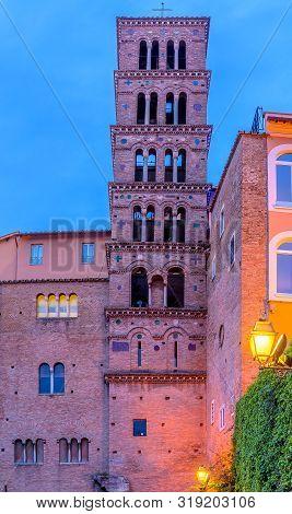 Belltower Of Basilica Of Saints John And Paul - Basilica Santi Giovanni E Paolo - In Night Light. Ro