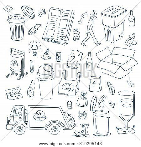 Vector Garbage Doodle Elements Set. Contour Waste Recycling And Trash Objects. Trash Can Types, Litt
