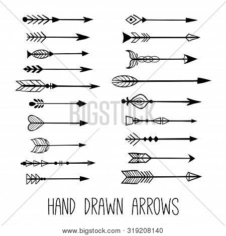 Hand Drawn Vintage Arrows. Tribal Sketch Elements Set. Hand Drawn Ethnic Collection With Doodle Arro