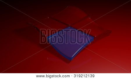 Glass Transparent Blue And Red Squares Waving - 3d Rendering Illustration