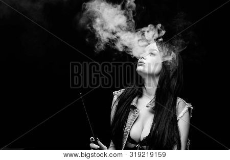 Vaping Is Sexy. Fashion Girl Vaping. Relaxing With Hookah. Nicotine Addiction. Attractive Busty Brun