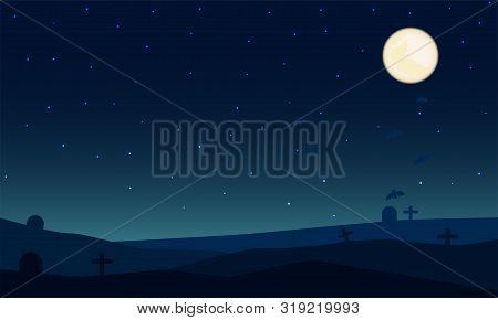 Night Halloween Colorful Background. Full Moon And Star On Tomb In Night Halloween. Vector Illustrat