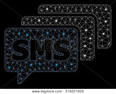 Glowing Mesh Sms Queue With Lightspot Effect. Abstract Illuminated Model Of Sms Queue Icon. Shiny Wi