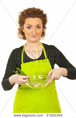 Woman Holding Green Onion And Bowl