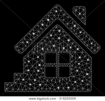 Glowing Mesh House Porch With Glitter Effect. Abstract Illuminated Model Of House Porch Icon. Shiny