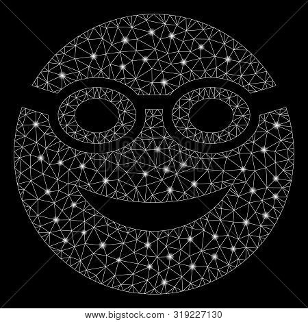 Flare Mesh Swimmer Smiley With Sparkle Effect. Abstract Illuminated Model Of Swimmer Smiley Icon. Sh