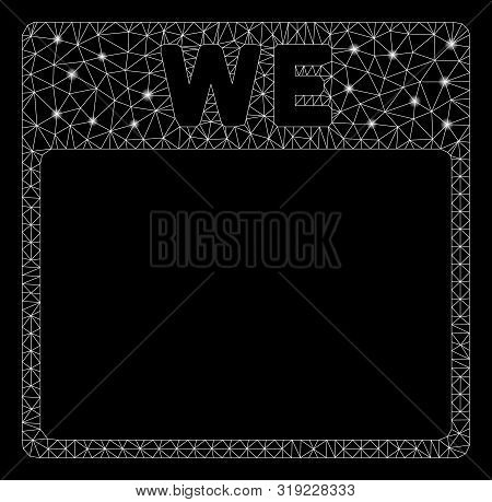 Glossy Mesh Wednesday Calendar Page With Sparkle Effect. Abstract Illuminated Model Of Wednesday Cal