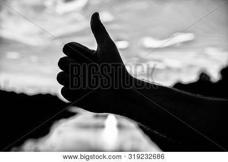Thumbs Up Gesture Sign Of Best Choice Approve And Accept. Top Places To Visit In Evening. Silhouette