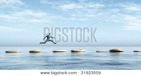 An image of a man jumping from stone to stone