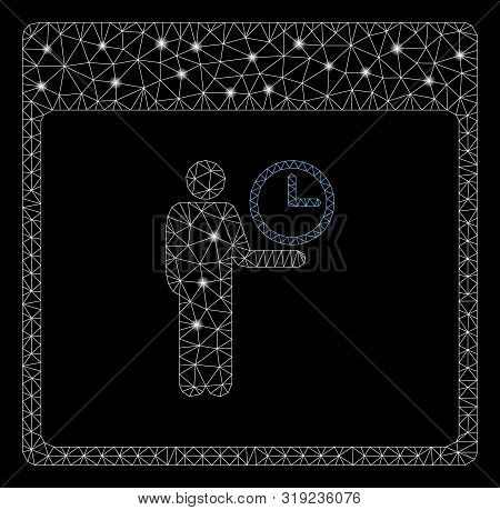 Glowing Mesh Time Manager Calendar Page With Glow Effect. Abstract Illuminated Model Of Time Manager