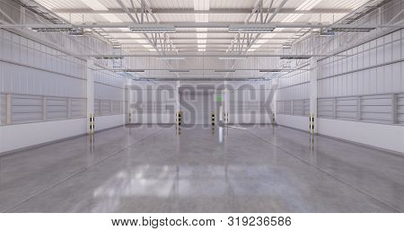 3d Illustration Rendering Of Factory Building Or Warehouse Building With Concrete Floor For Industri