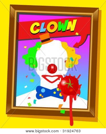 Vector frame with faceless man like clown and splashed tomato. For propaganda and funny concepts. Replace the photo with your favorite one!!!