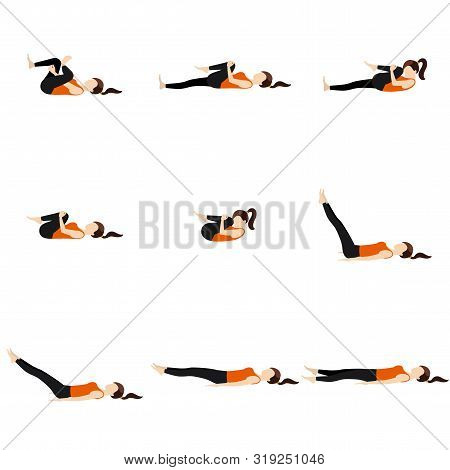 Illustration Stylized Woman Practicing Lying Yoga Postures