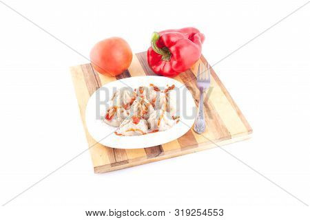 Japanese Dumplings: Yaki Gedza With Vegetables On A White Background Close-up