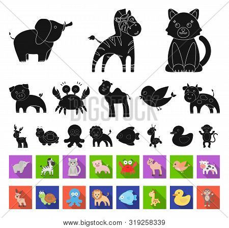 An Unrealistic Black, Flat Animal Icons In Set Collection For Design. Toy Animals Bitmap Symbol Stoc