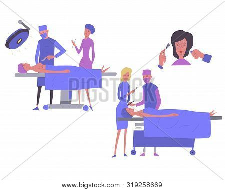 Cosmetology, Plastic Surgery, - Flat Vector Illustration Clinic Of Aesthetic Medicine , Medical Offi