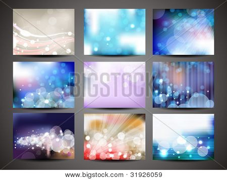 Vector illustration set of shiny and colorful creative abstract backgrounds, EPS 10.