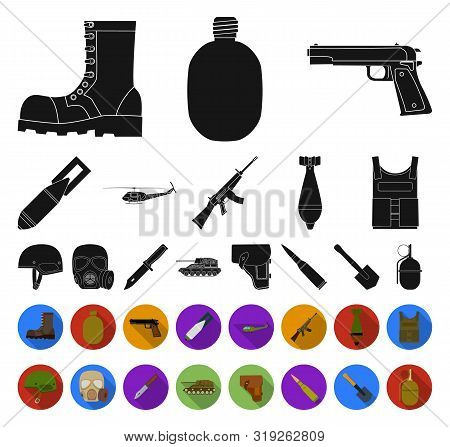 Army And Armament Black, Flat Icons In Set Collection For Design. Weapons And Equipment Bitmap Symbo