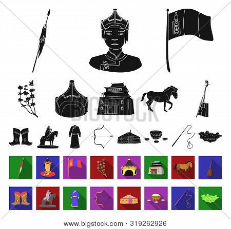 Country Mongolia Black, Flat Icons In Set Collection For Design.territory And Landmark Bitmap Symbol