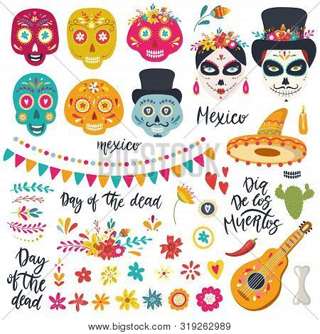 Set Of Elements For Day Of The Dead, Dia De Los Muertos
