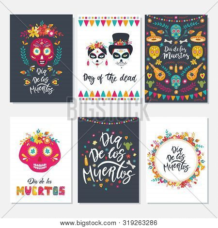 Dia De Los Muertos, Mexican Day Of The Dead. Set Of Greeting Cards