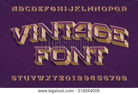 Vintage alphabet font. 3D effect scratched letters and numbers. Vector typescript for your typography design. poster