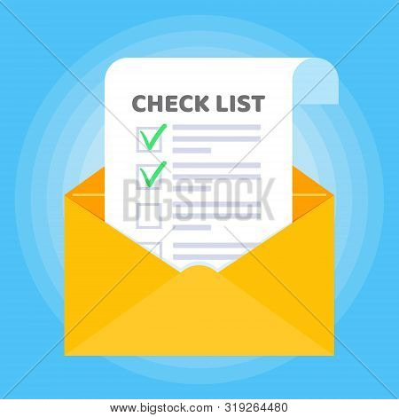 Open Envelope With Document Paper Sheet Page Check Mark Tick Text Icon Sign Vector Checklist. Symbol
