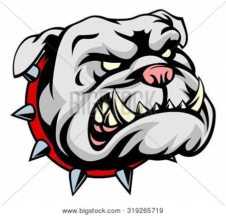 A Mean Looking Cartoon Pet Bulldog Dog Wearing A Spiked Collar