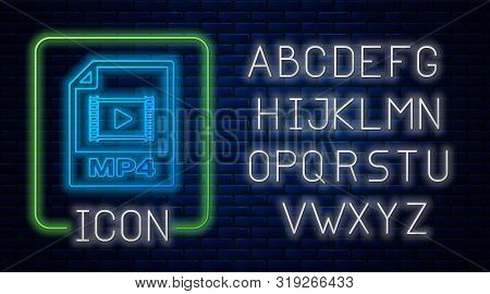 Glowing Neon Mp4 File Document. Download Mp4 Button Icon Isolated On Brick Wall Background. Mp4 File