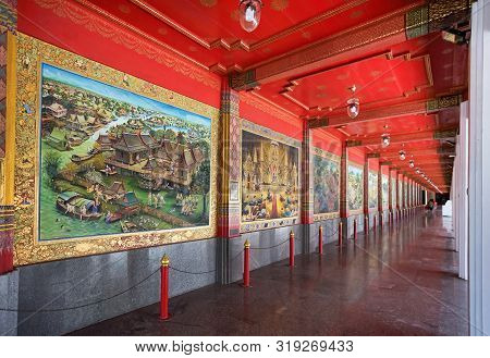 Suphan Buri, Thailand - May 25, 2019: Mural Art Painting Of The Most Famous Thai Epic Poem 60 Ep Khu