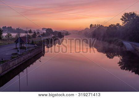 Just Before Sunrise At The Bridge Over The River Lys In Lauwe & Wevelgem, Belgium.