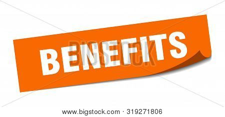 Benefits Sticker. Benefits Square Isolated Sign. Benefits